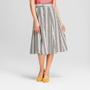Universal Thread Black White Stripe Button Skirt